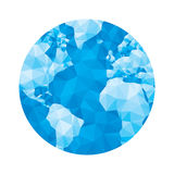 Globe map - abstract geometric vector illustration in blue colors. Globe polygonal illustration. Stock Images