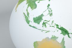 Globe map of Asia, Indonesia, Malaysia, Australia, relief map Stock Image