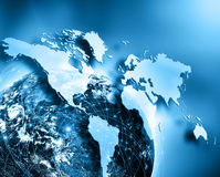 Globe, map, flashes of light, rays, line Royalty Free Stock Image