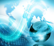 Globe, map, flashes of light, rays, line Royalty Free Stock Images