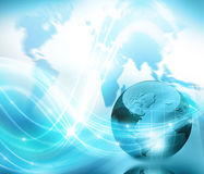 Globe, map, flashes of light, rays, line Royalty Free Stock Photos