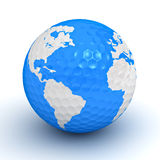 Globe map on golf ball Royalty Free Stock Photos