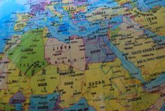 Globe map of North Africa and the Middle East. A photo taken on the part of a globe that shows North Africa, parts of the Middle East and parts of the western stock photography