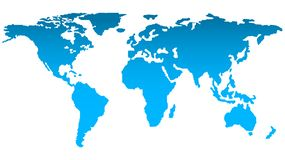 Trendy Map of the World Silhouette in Bright Blue Color on White Background royalty free stock photo