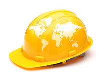 Globe  map on  safety helmet Stock Photos
