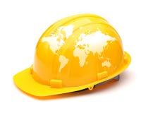 Globe map on safety helmet. Isolated on white background stock photos