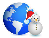Globe map snowman illustration design Stock Images