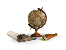 Globe map and spyglass Royalty Free Stock Images