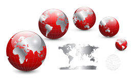 Globe and map of the world. Detailed  vector illustration Royalty Free Stock Photos