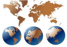 Globe and Map of the World. Vector illustration wallpaper Royalty Free Stock Image