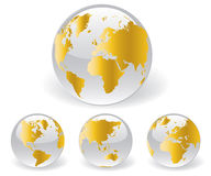 Globe map of the world. Globe and detail map of the world, Vector file easy to edit or change color Royalty Free Stock Photo