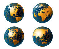 Globe map of the world. Globe and detail map of the world, Vector file easy to edit or change color Royalty Free Stock Image