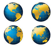 Globe map of the world. Globe and detail map of the world, Vector file easy to edit or change color Royalty Free Stock Photos