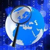 Globe Matrix Represents Earth Binary And Globalise Royalty Free Stock Photos