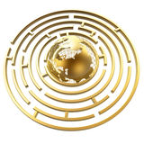 Globe in maze Royalty Free Stock Photos