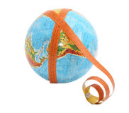 Globe with measure tape. On it Royalty Free Stock Images