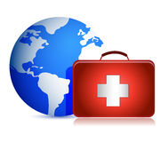 Globe and medical kit Royalty Free Stock Images