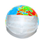 Globe in a medical mask. Isolated object Royalty Free Stock Images