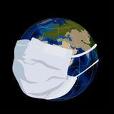 Globe in medical mask. Illustration of globe in medical mask Stock Photos