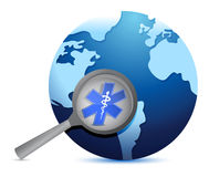 Globe with medical symbol under a magnify glass Stock Image