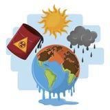 Globe melting half desert with hazardous waste and dark clouds. Icon cartoon vector illustration graphic design stock illustration