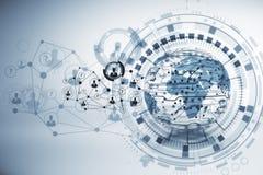 Globe, microcircuit et concept social de media illustration de vecteur