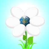 Globe in the middle of a flower. Globe illustration in a flower on a pale blue background Stock Photography