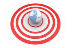 Globe in the middle of red circles Royalty Free Stock Photography