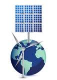 Globe miniature avec le moulin à vent et les panneaux solaires illustration stock