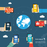 Globe mobile instant messenger concept. Mobile instant messenger globe network concept. Hands with smartphones around the globe Royalty Free Stock Image