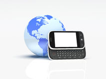 Globe and mobile phone on white. 3d Stock Image