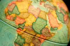 Globe model with geographical details of Africa continent and co. Untries. Representation of northern and central African countries with details and cities Royalty Free Stock Photos