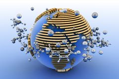 Globe with molecules Royalty Free Stock Photography