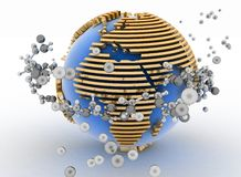 Globe with molecules. 3d abstract background Royalty Free Stock Photography