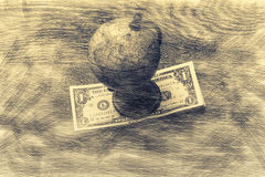Globe and money. Globe and money in abstract space royalty free stock image