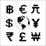 Globe with money cycle symbol. Various currencies signs. Banking Royalty Free Stock Photo