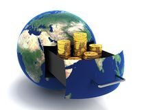 Globe of money gold Stock Photo