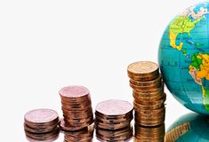 Globe with money. Image of globe with money on shiny surface with a white background royalty free stock photos