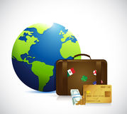 Globe, money and travel suitcase illustration Stock Photography