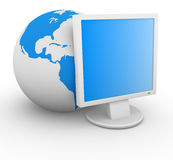 Globe with monitor Royalty Free Stock Image