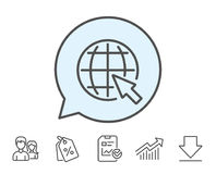 Globe with mouse cursor line icon. World sign. Royalty Free Stock Photography