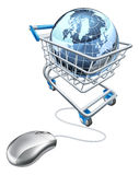 Globe mouse trolley concept Stock Photography