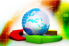 Globe and multi color arrows Stock Image