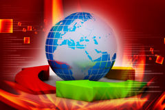 Globe and multi color arrows. In color background Stock Photo