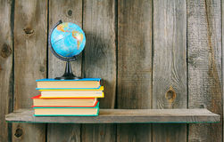 The globe and multi-coloured books. Royalty Free Stock Photos