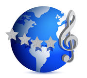 Globe with music note illustration design Royalty Free Stock Photo