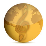 Globe with music note illustration design Royalty Free Stock Photography
