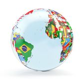 Globe with national flags stock illustration