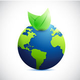 Globe and natural leaves. illustration design Stock Photo