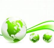 Globe on Nautre Green Background Stock Photos